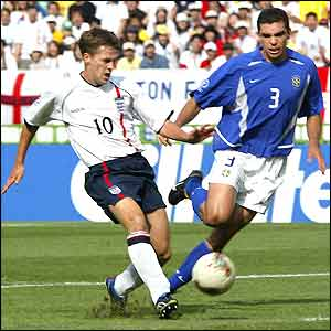 England striker Michael Owen gives his side the lead over Brazil