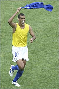 Rivaldo celebrates equalising for Brazil against England