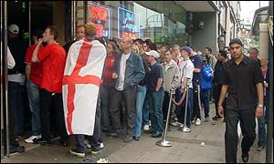 Fans outside at Sports Bar, Broad Street, Birmingham