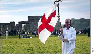 Steve Wilson of the British Druids Society waves his flag of St George