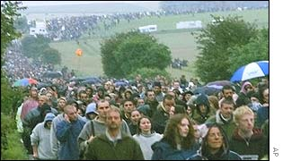 Revellers leaving Stonehenge after the event