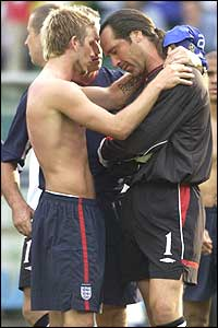 England captain David Beckham consoles distraught goalkeeper David Seaman