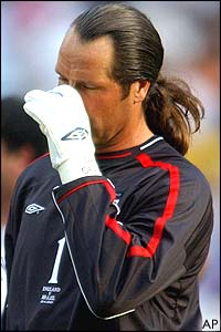 David Seaman is inconsolable after England's defeat