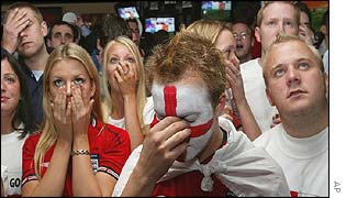 England fans watched in growing disbelief in the Sports Cafe, in London