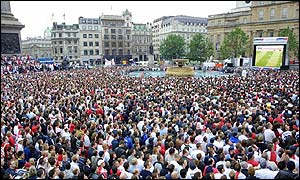 Trafalgar Square, in central London, was a sea of red and white