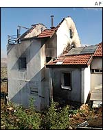 Burned out house in Itamar settlement