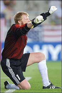 German captain Oliver Kahn celebrates the win against the USA