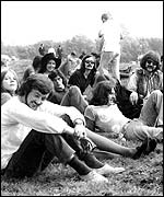 Ian Anderson with musicians and friends at Glastonbury 1970
