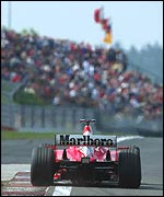 Michael Schumacher passes thousands of his fans at the European Grand Prix