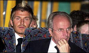 Captain David Beckham waits in the coach ready to be taken from Heathrow