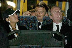 Nancy Dell' Olio and partner Sven-Goran Eriksson on the England team bus