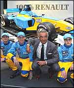 Renault's 2002 drivers Jarno Trulli (left), Jenson Button and Fernando Alonso (right) with team boss Flavio Briatore