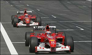 Ferrari resist the temptation to use team orders as they had done in Austria even though Schumacher seemed to be faster