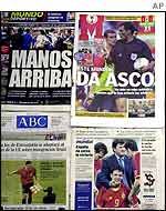 Headlines from Spanish newspapers after the defeat by South Korea