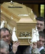 Coffin of young drugs victim carried out of church