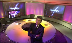Jeremy Paxman on the finished set