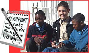 Duncan with Bongani and Khumbalani outside their school