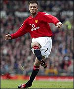 David Beckham scores from a free-kick