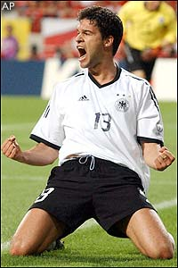 Michael Ballack celebrates his goal that sends Germany into the final