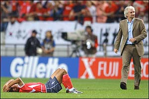 Lee Chun-Soo is left devastated at the final whistle