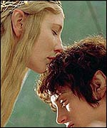 Cate Blanchett and Elijah Wood in The Lord of the Rings