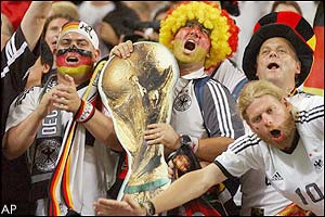 Jubilant German fans celebrate in the Seoul World Cup