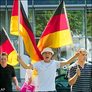German fans celebrate in Freiburg, Germany,