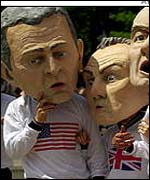 Protesters wore heads of world leaders