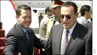 Jordan's King Abdullah (left) with Egyptian President Hosni Mubarak