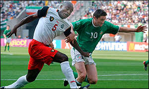 Raymond Kalla marks Ireland's Robbie Keane at the 2002 World Cup