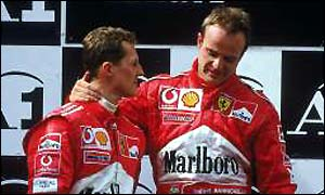 Schumacher pushed Barrichello to first place on the podium at the Austrian GP