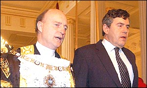 Gordon Brown (right) with Lord Mayor, Alderman Michael Oliver on Wednesday