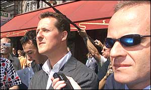 Michael Schumacher and Rubens Barrichello face the media after Wednesday's FIA hearing in Paris