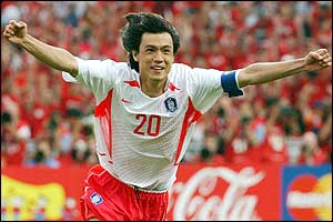 Captain Hong Myung-Bo celebrates scoring the winning goal in the penalty shoot out against Spain in the quarter-final