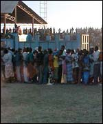 Queuing outside Jamhuri stadium