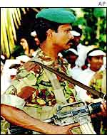Sri Lankan soldier on duty