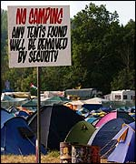Tents at Glastonbury 2002