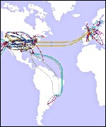 WorldCom network map for Americas and Europe