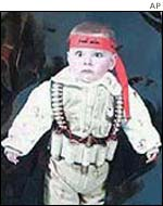 Toddler dressed as suicide bomber
