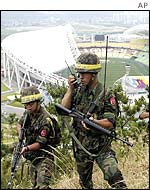 Soldiers patrol near the World Cup Stadium in Daegu