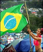 Brazil fan at Glastonbury
