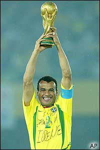 Brazil captain Cafu lifts the World Cup in Yokohama