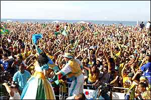 Brazilian fans celebrate on Copacabana beach
