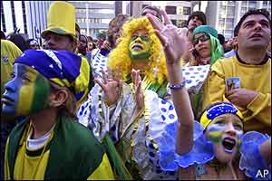 Brazilian fans crowd the streets of Sao Paulo