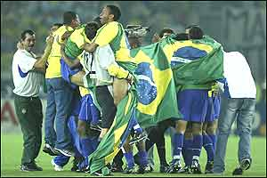 Brazil celebrate beating Germany in the World Cup final