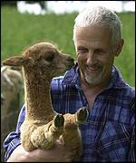Ben Harford with a baby alpaca