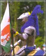 Knight with Welsh Flag