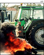 French farmers burning an animal carcass in protest at EU agricultural policies