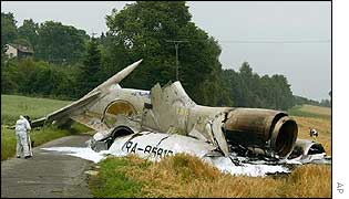 Tupolev wreckage in a field