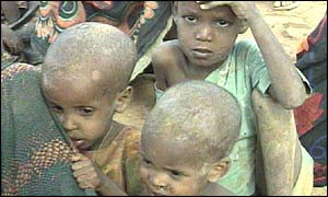 Starving children during a 2000 famine in Ethiopia